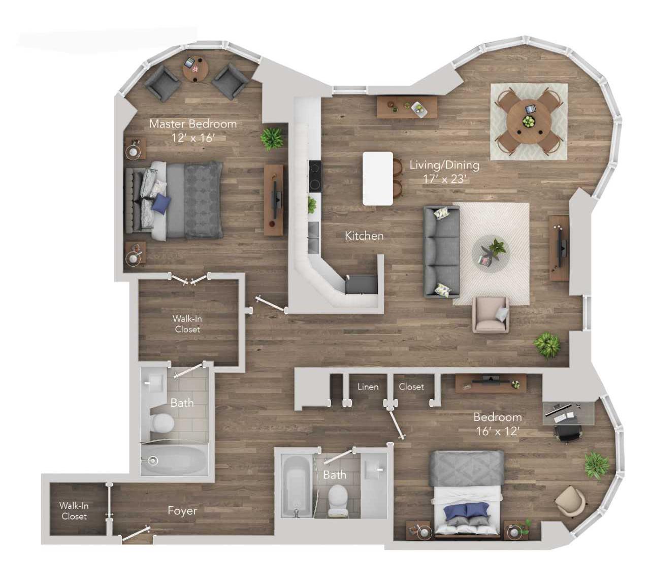 2 BR 2 BA Apartment
