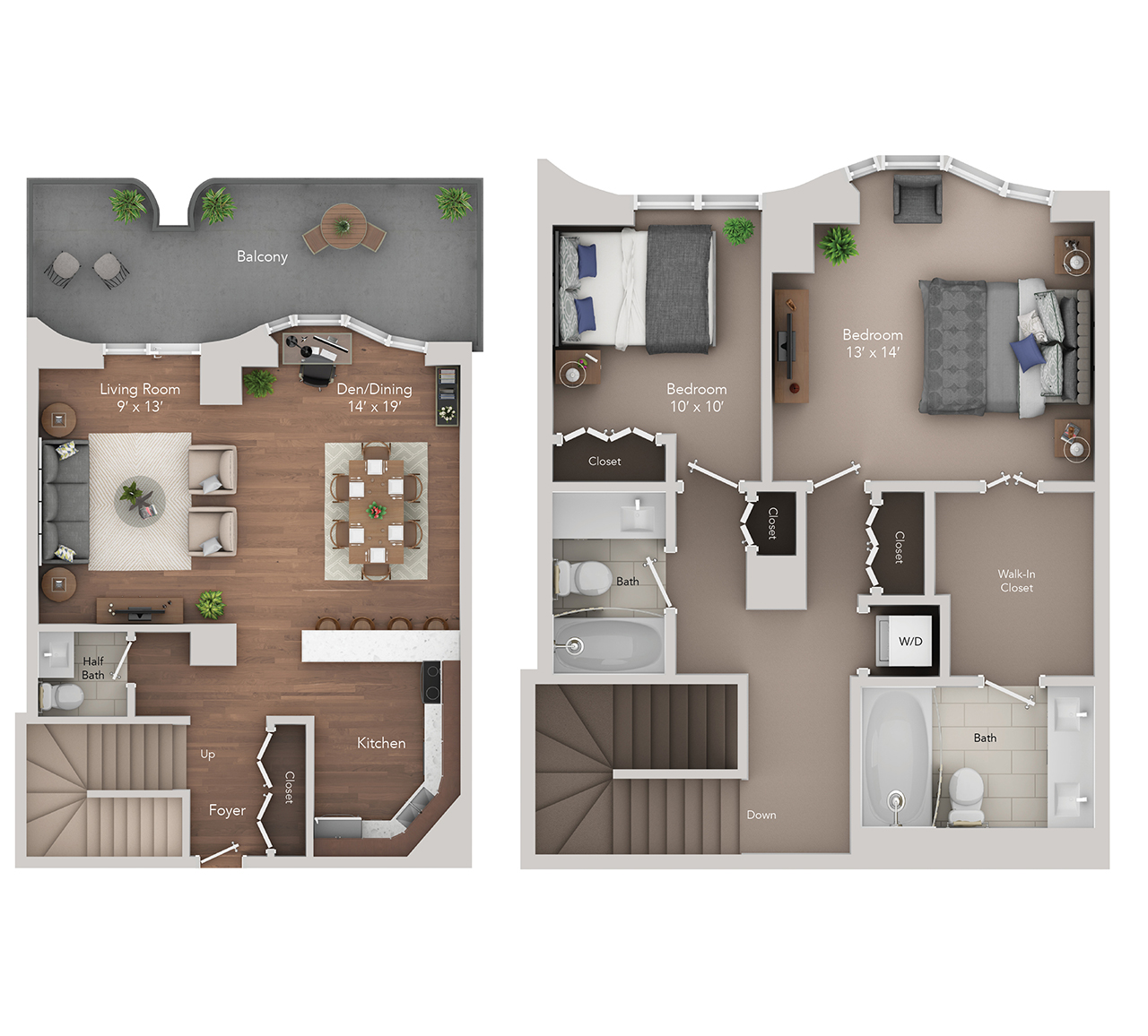 2 BR 2.5 BA Townhome