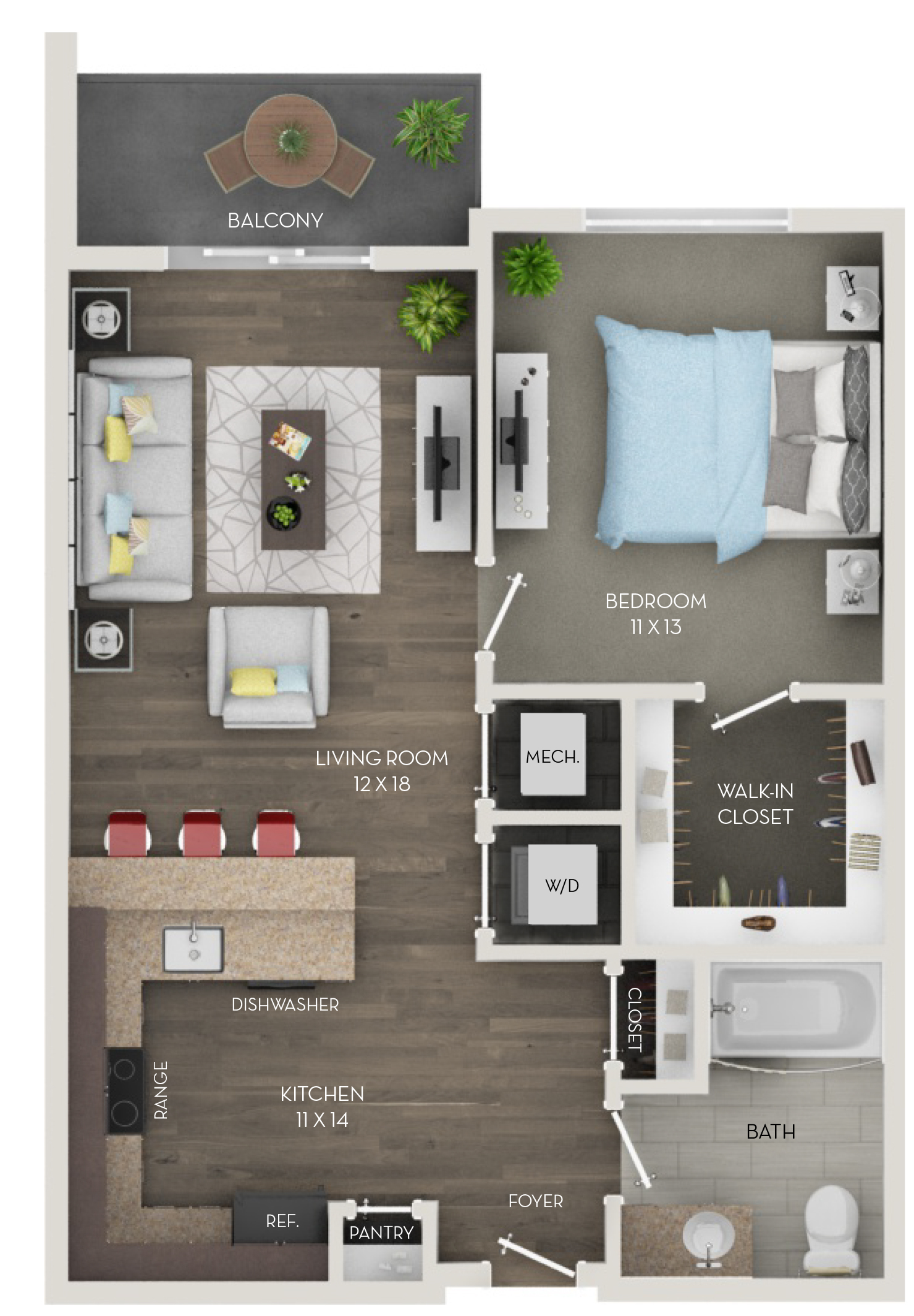 One Bedroom, One Bath (A2)