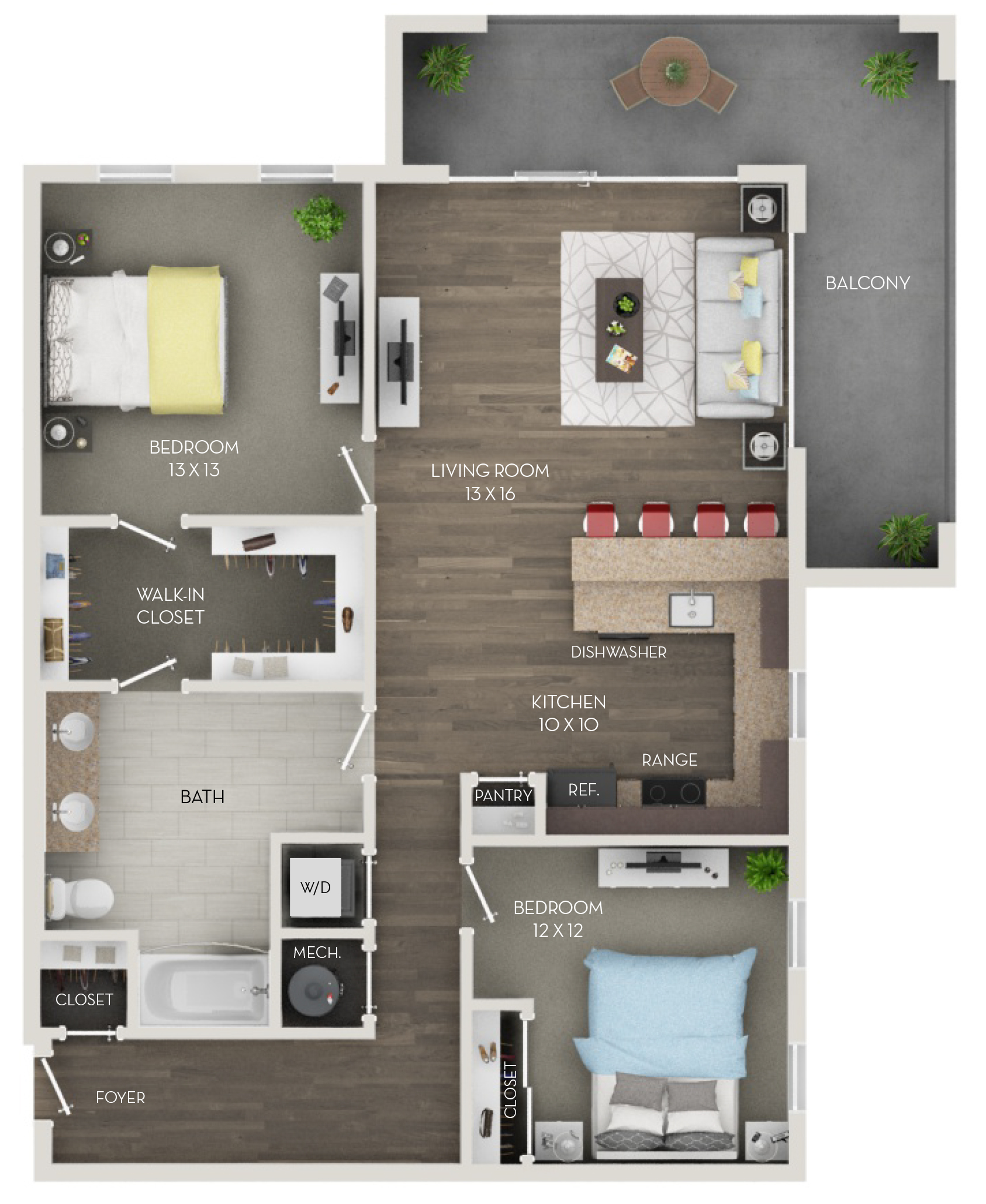 Two Bedroom, One Bath (B)
