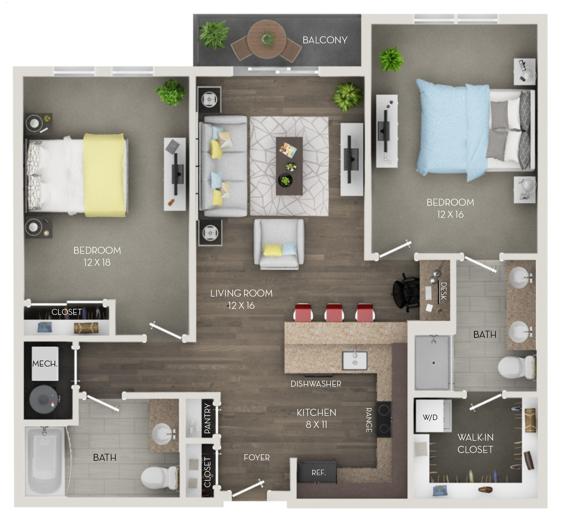 Two Bedroom, Two Bath (Cp)