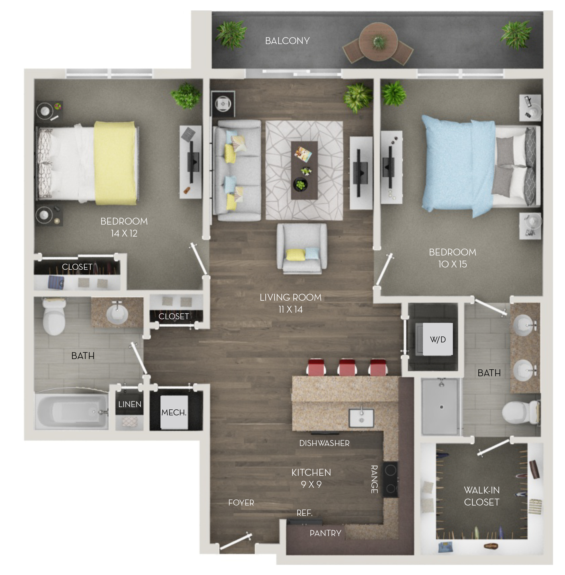Two Bedroom, Two Bath (C2p)