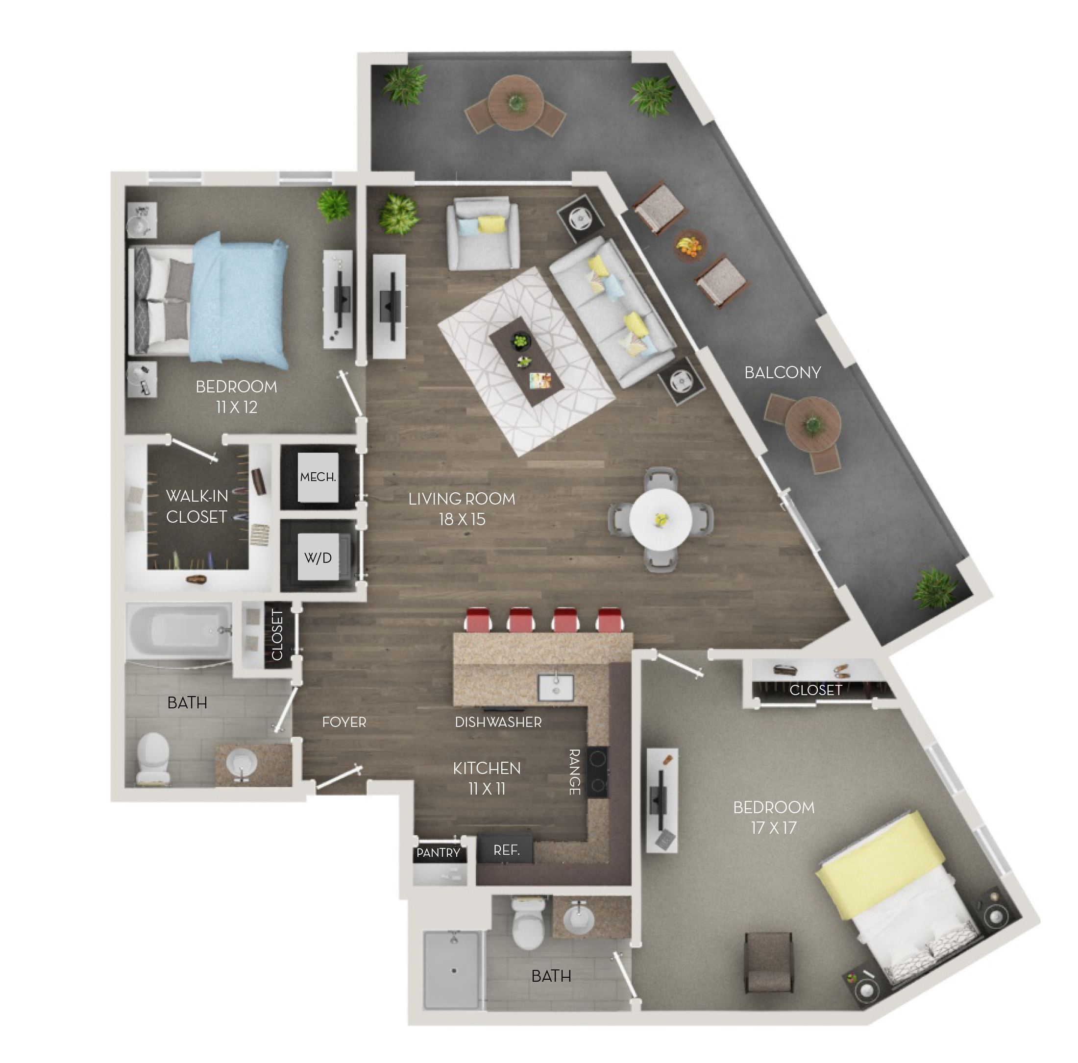 Two Bedroom, Two Bath (C5p)